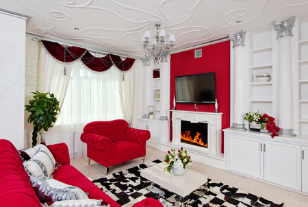 Classical living room interior in white, silver and red colors Stock Photo