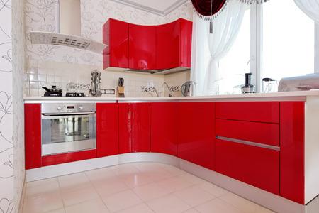 Modern glossy kitchen interior cabinet closeup Stock Photo