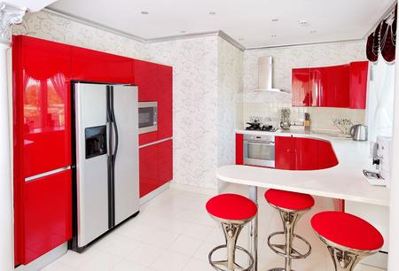 Modern red glossy kitchen interior