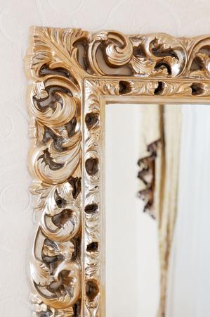 Part of golden baroque classical mirror frame