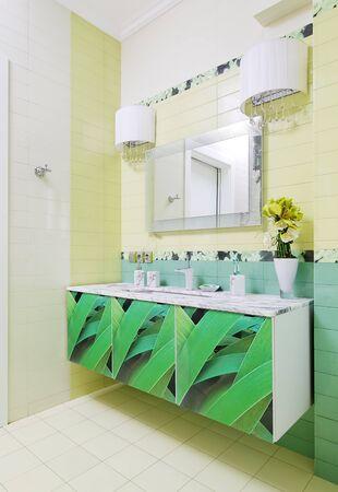 Bathroom design with beautiful grass print on bath cabinet