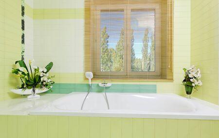 Beautiful white faucet on bathtube near window with flowers decor