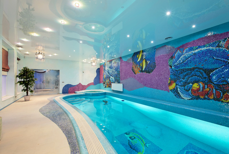 Interior design in spa zone with mosaic swimming pool and mosaic walls