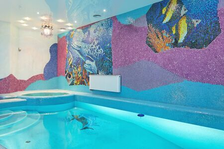 Swimming pool luxury design with mosaic fish on the wall Stock Photo