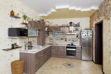 Beautiful wooden country style kitchen with stone decor in yellow