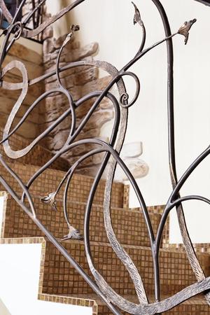 Classical mosaic stairs ornamental element closeup Stock Photo