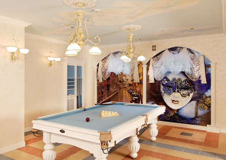 Classical italian style pool room with columns