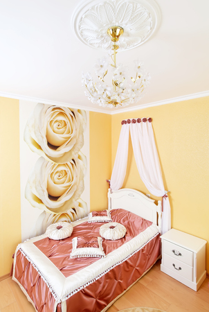 Classical bedroom interior with roses