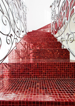 Classical mosaic stairs way up close up