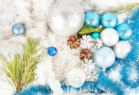 Blue and white new year decorations on white background
