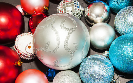 New year decorations on dark background close up Stock Photo