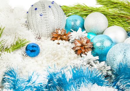 Christmas and New Year composition with fir tree branch, beautiful silver ball