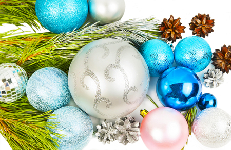 New year and Christmas decorations on white background closeup