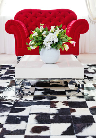 Red classical armchair in living room interior near white coffee table