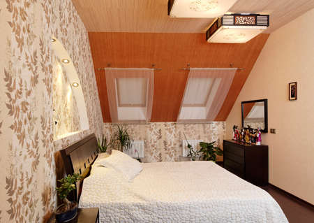 Japanese style bedroom interior decorated with bamboo and dools Stok Fotoğraf