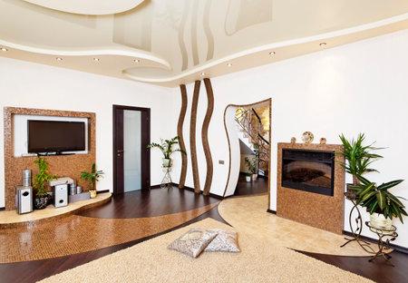 Living room hall modern design interior with golden mosaic