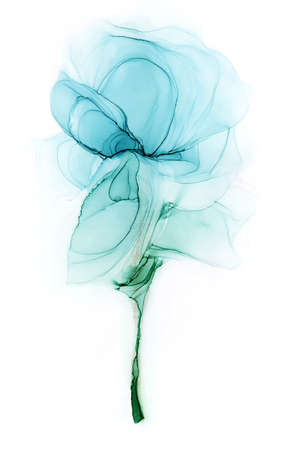 Alcohol ink elegant light blue flower on white background