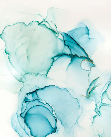 Abstract alcohol ink art drawing in blue and grey background