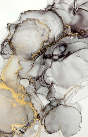 Abstract alcohol ink art drawing clouds with golden detail