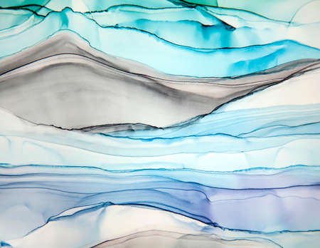 Abstract alcohol ink art hand drawing background stripes