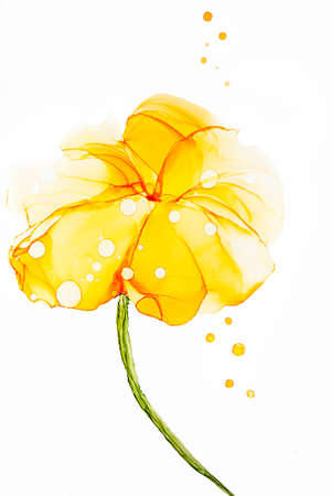 Abstract alcohol ink art drawing yellow flower Stok Fotoğraf