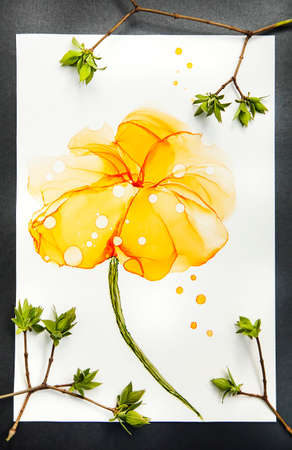 Abstract alcohol ink art drawing background  flower