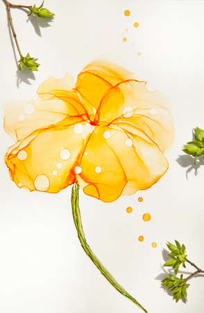 Abstract alcohol ink art yellow flower handdrawing