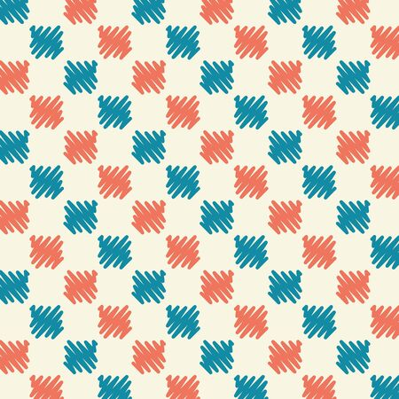 grid pattern: Stock Abstract Seamless Pattern Grid Blue Red Scribble