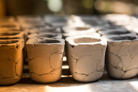 Rows of traditional clay potteries,soft focus