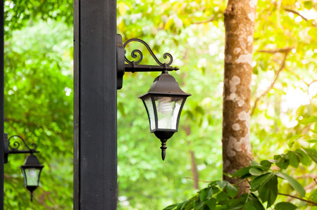 Antique lamps are a natural background Stock Photo