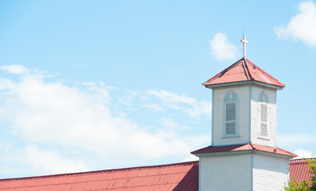 church steeple: church steeple,crosses on a roof of a christian orthodox church against a cloudy sky Stock Photo