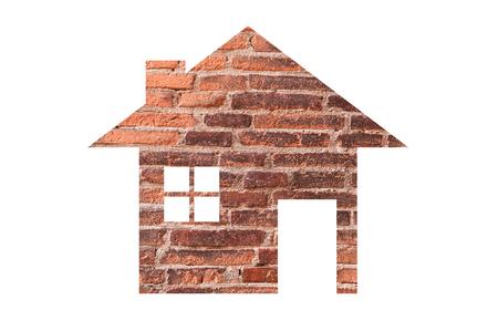 icône de la maison de fond de texture de brique comme symbole de l'hypothèque, maison de rêve sur fond de nature, isolé sur blanc