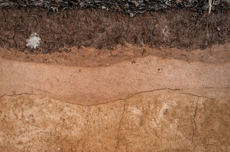 rock strata: form of soil layers,its colour and textures,texture layers of earth Stock Photo