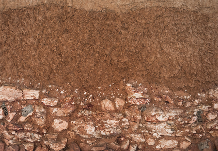 form of soil layers,its colour and textures,texture layers of earth Stock Photo