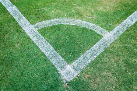soccer field grass: Football field corner green turf ,Corner of soccer pitch,soccer field grass conner Stock Photo
