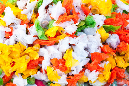 Pile candy and taffy sweets with colorful for background Stock Photo
