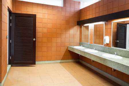 sinks: Interior of public clean toilet in a shared toilet there is a wide selection of sinks with mirrors Stock Photo
