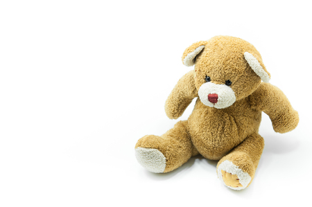 Brown Teddy Bear toy sitting on White background Stock Photo