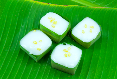 Thai Candy  taco  on banana leaf ,food Thailand style Stock Photo