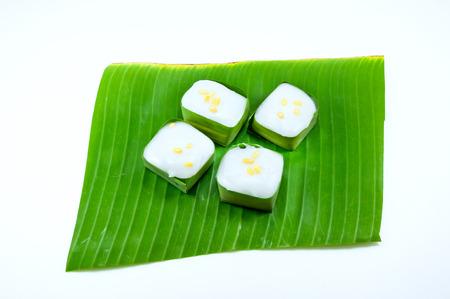 fresh leaf: Thai Candy  taco  on banana leaf on white background,food Thailand style