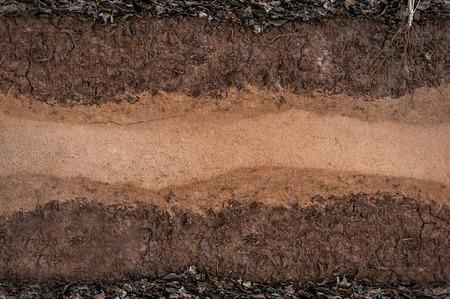Forma de las capas del suelo, su color y texturas, capas de textura de la tierra