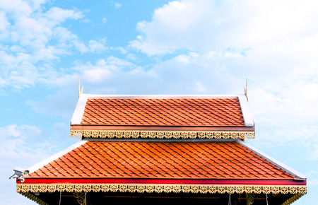 Temple roof and clear sky, architecture Northern Thailand