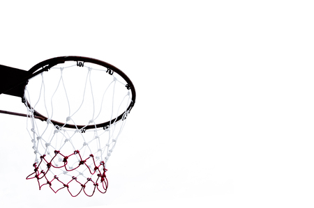goal cage: Basketball hoop viewed from below on white background