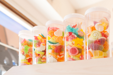 jelly beans: Jelly sweet, flavor fruit, candy dessert colorful on sugar in a jar