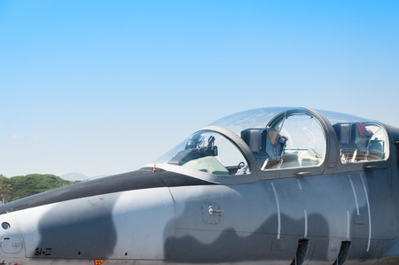 Head F-16 fighter jet plane of Royal air force ,aircraft Stock Photo
