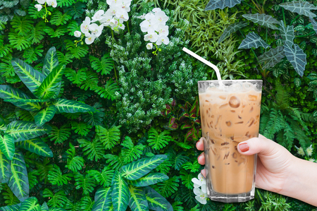 woman hand holding the glass iced coffee on green nature background,Iced latte coffee