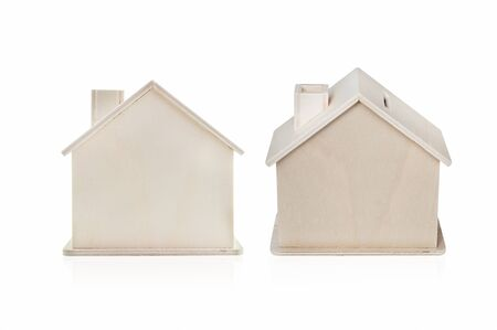 Image of small wooden wooden house isolated on white background