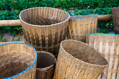 Bamboo basket of hill tribe,Woven bamboo basket bag with rope, tribal handmade