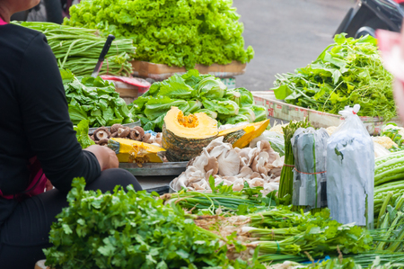 Fresh Vegetables for sale on market in  Asia at Thailand,vegetable market Reklamní fotografie