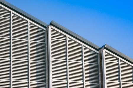 Modern building structure and steel roof ,The Aluminium Habitat Vertical Stripe